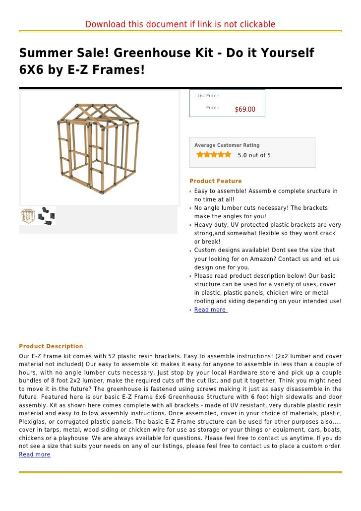 Summer sale greenhouse kit do it yourself 6 x6 by e z frames download this document if link is not clickablesummer sale greenhouse kit do it yourself6x6 solutioingenieria Choice Image