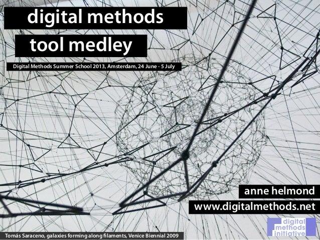 digital methodstool medleyDigital Methods Summer School 2013, Amsterdam, 24 June - 5 JulyTomás Saraceno, galaxies forming ...