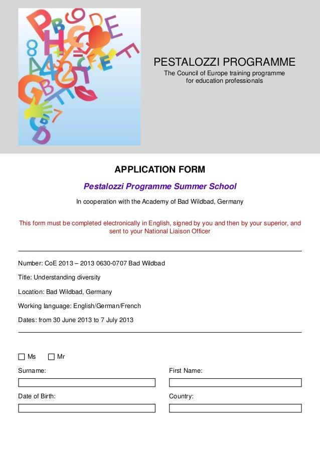 PESTALOZZI PROGRAMME                                                  The Council of Europe training programme            ...
