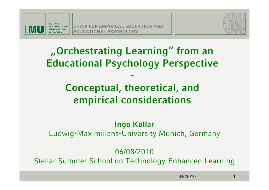 """CHAIR FOR EMPIRICAL EDUCATION AND           EDUCATIONAL PSYCHOLOGY        """"Orchestrating Learning"""" from an    Educational ..."""