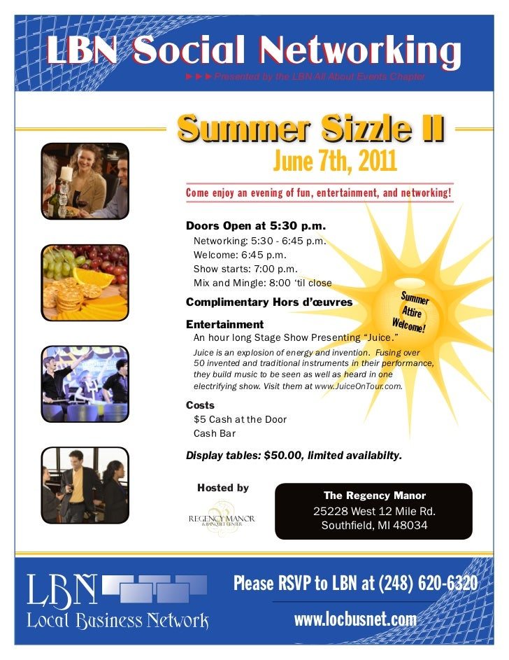 LBN Social Networking       ►►►Presented by the LBN All About Events Chapter      Summer Sizzle II          June 7th, 2011...