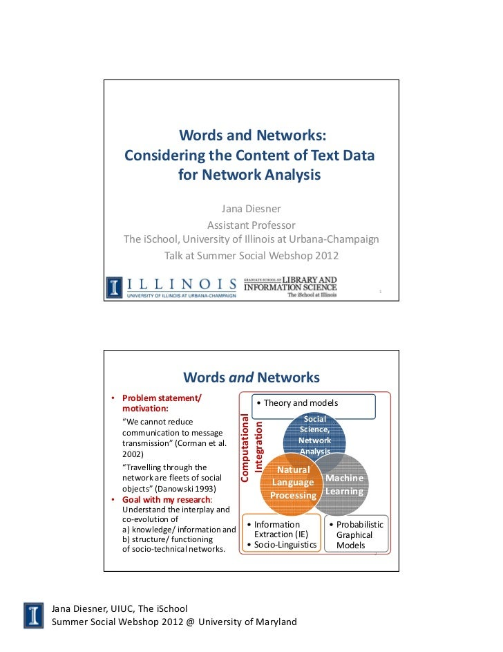 Words and Networks:               Considering the Content of Text Data                      for Network Analysis          ...