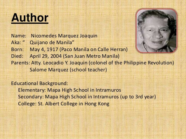 life of nick joaquin Family and peers of the late national artist nick joaquin celebrates  for us to  celebrate his life and his contributions not only to our community,.