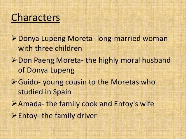 guido s characterization of donya lupeng in summer solstice Summer solstice by: nick characters donya lupeng moreta- long-married woman with three children don paeng moreta- the highly moral husband guido's speech.