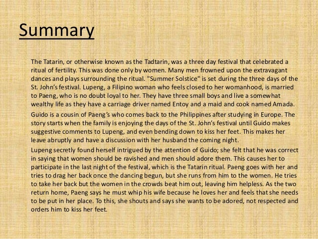 summary of nick joaquin s summer solstice Click to read more about nick joaquin's selected stories: three generations, may day eve, summer solstice, difficulties of a diplomat by nick joaquin librarything is a cataloging and social networking site for booklovers.