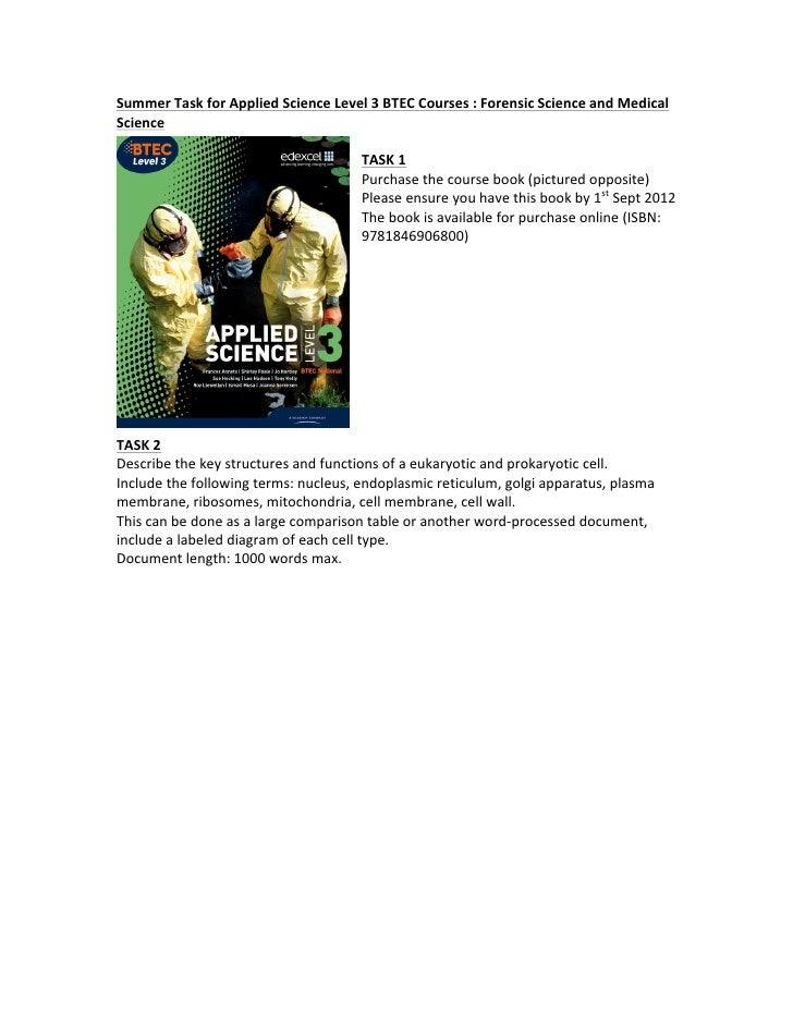 Summer Task for Applied Science Level 3 BTEC Courses : Forensic Science and Medical Science ...