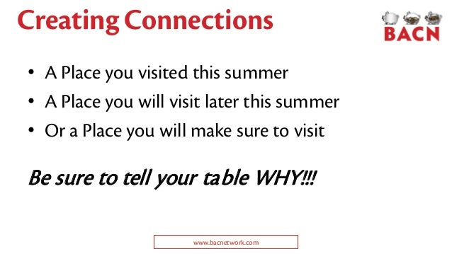 Creating Connections • A Place you visited this summer • A Place you will visit later this summer • Or a Place you will ma...