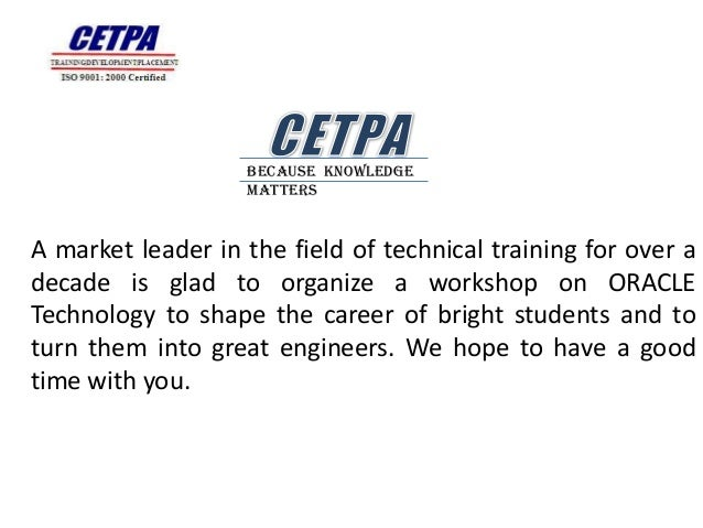 Because Knowledge                   MattersA market leader in the field of technical training for over adecade is glad to ...