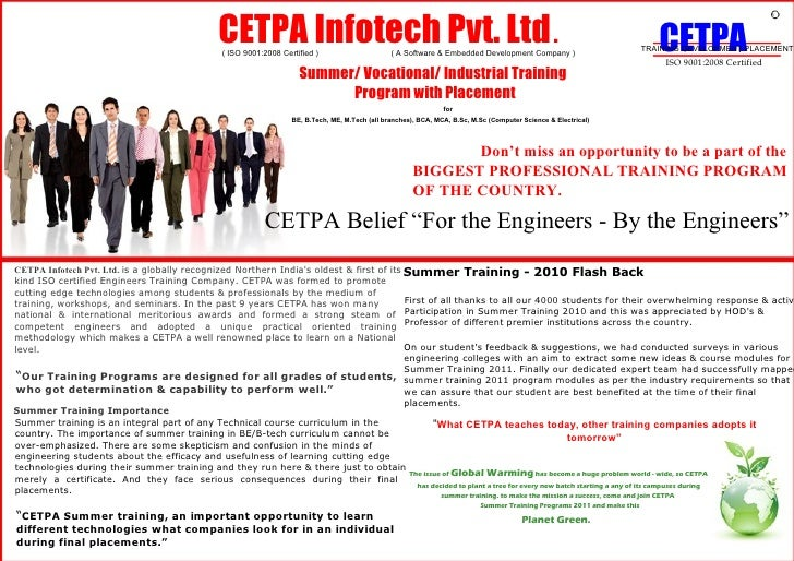 CETPA Infotech Pvt. Ltd .  ( ISO 9001:2008 Certified )  ( A Software & Embedded Development Company )  Summer/ Vocational/...