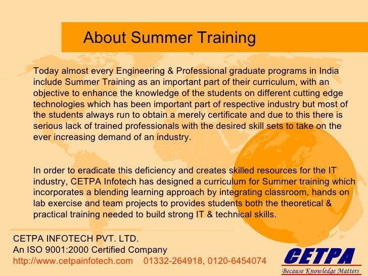 summer training project in ranbaxy Summer training and internship (stip) for computer science/mca students home summer training and internship (stip) for computer science.