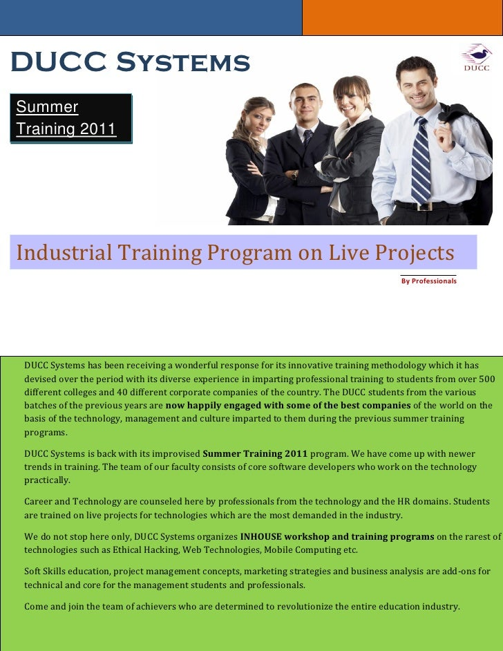 DUCC SystemsSummerTraining 2011Industrial Training Program on Live Projects                                               ...