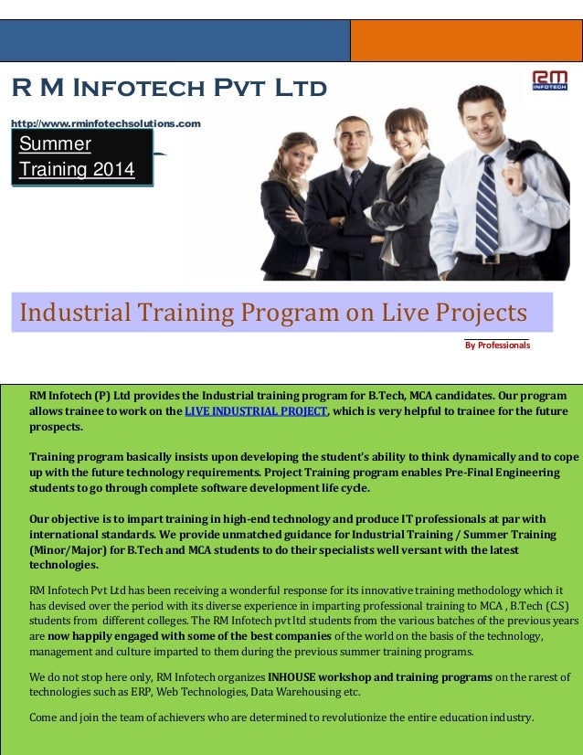 R M Infotech Pvt Ltd http://www.rminfotechsolutions.com Systems( ISO 9001:2008 Certified ) Industrial Training Program on ...
