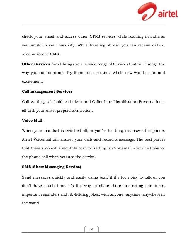 Bharti Airtel Pvt  Ltd  Summer training project report
