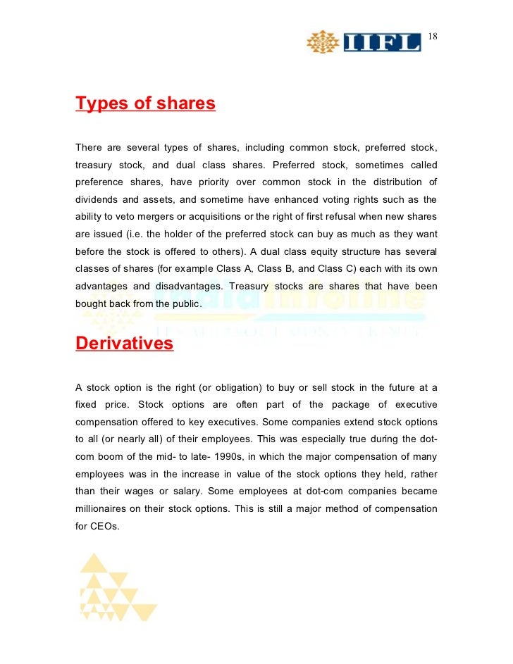 18Types of sharesThere are several types of shares, including common stock, preferred stock,treasury stock, and dual class...