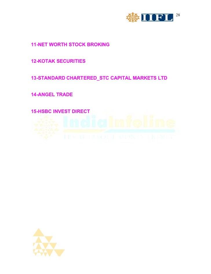 2811-NET WORTH STOCK BROKING12-KOTAK SECURITIES13-STANDARD CHARTERED_STC CAPITAL MARKETS LTD14-ANGEL TRADE15-HSBC INVEST D...