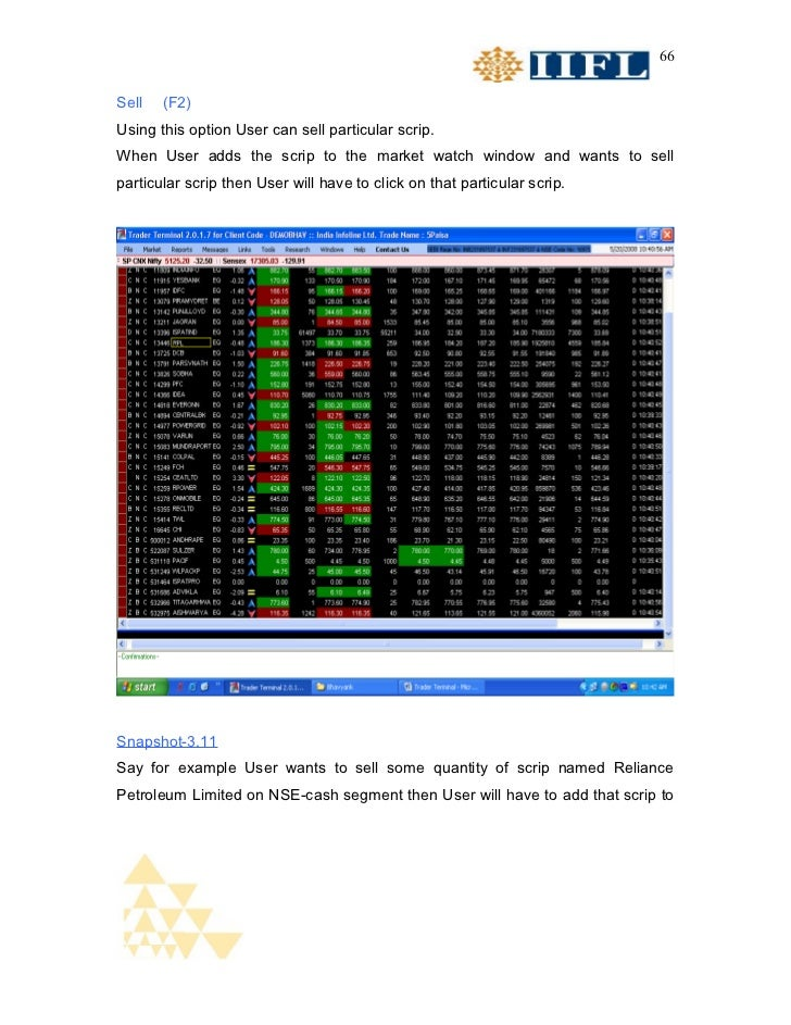 66Sell   (F2)Using this option User can sell particular scrip.When User adds the scrip to the market watch window and want...