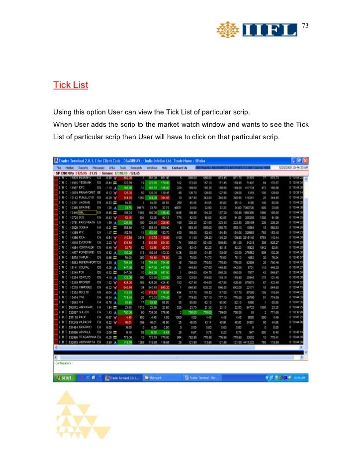 73Tick ListUsing this option User can view the Tick List of particular scrip.When User adds the scrip to the market watch ...