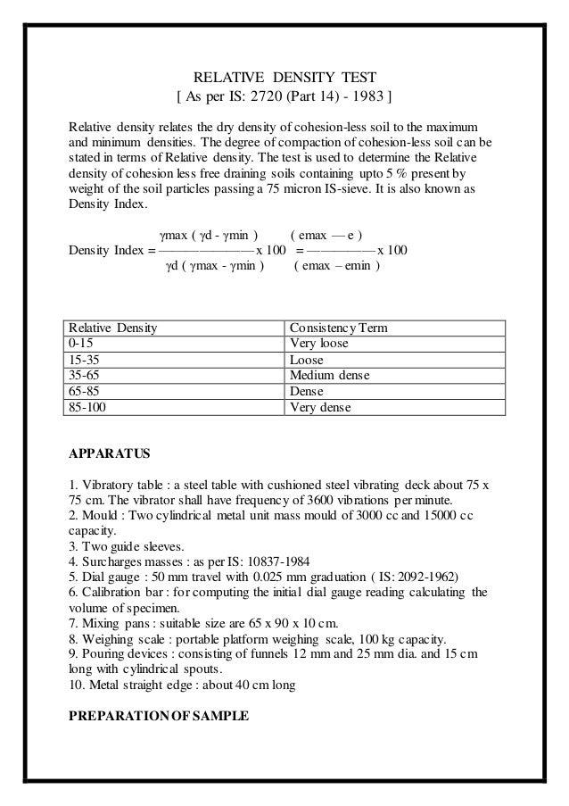 relative density lab report