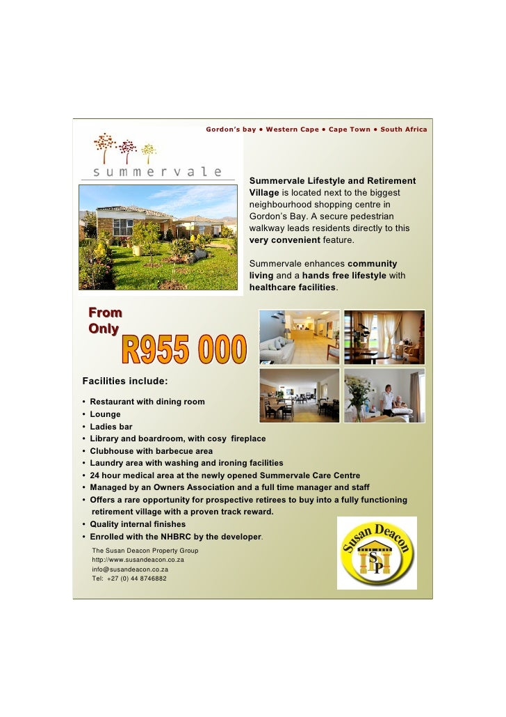 Summervale retirement village gordons bay for sale