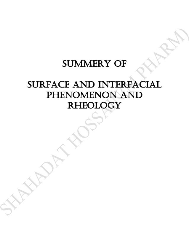 Summery ofSurface and interfacial   phenomenon and       Rheology