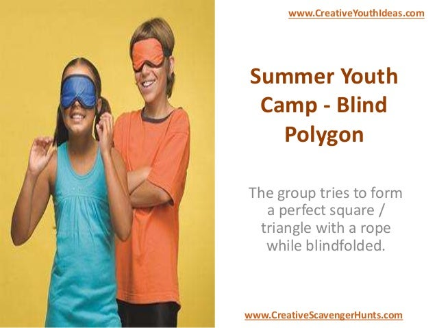 Summer Youth Camp - Blind Polygon The group tries to form a perfect square / triangle with a rope while blindfolded. www.C...