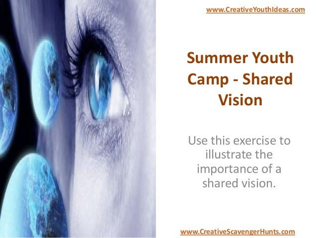 Summer Youth Camp - Shared Vision Use this exercise to illustrate the importance of a shared vision. www.CreativeYouthIdea...