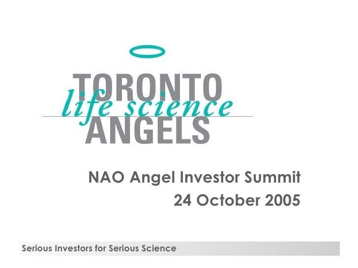NAO Angel Investor Summit 24 October 2005