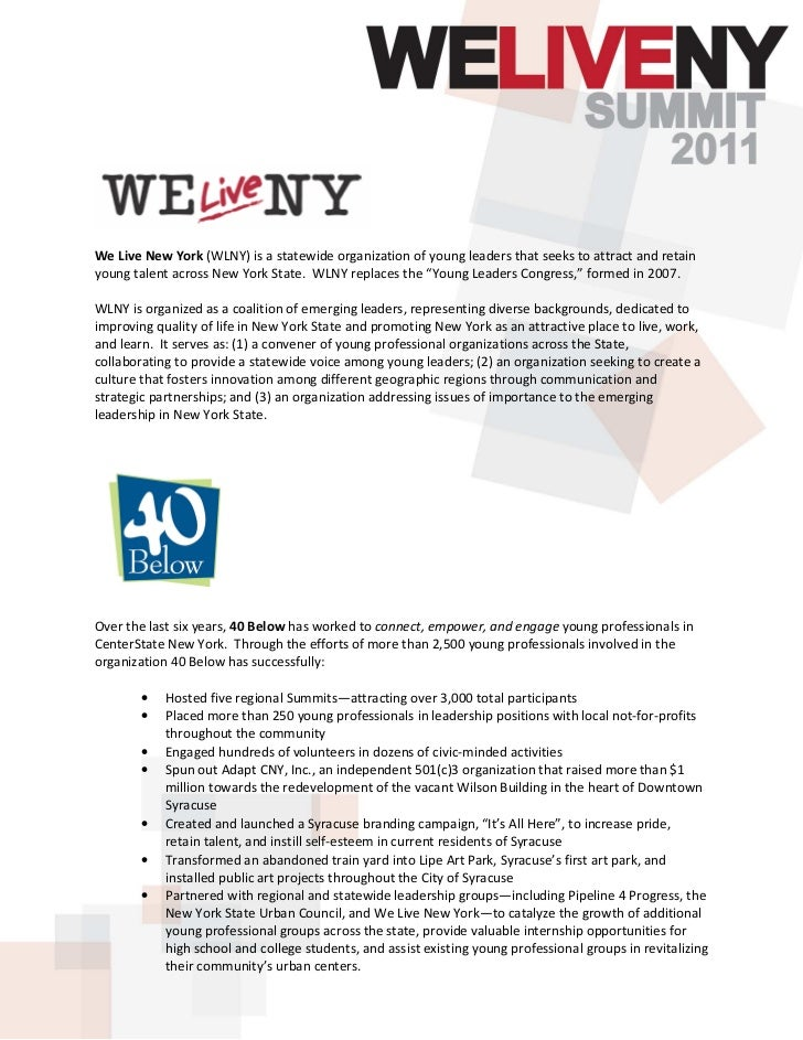 We Live New York (WLNY) is a statewide organization of young leaders that seeks to attract and retainyoung talent across N...