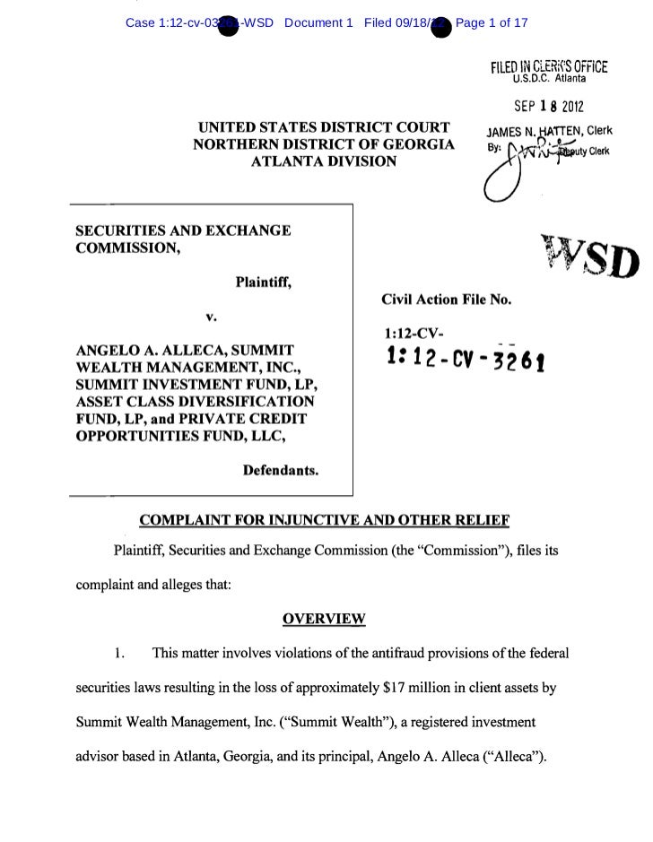 •                                     •        Case 1:12-cv-03261-WSD Document 1 Filed 09/18/12 Page 1 of 17              ...