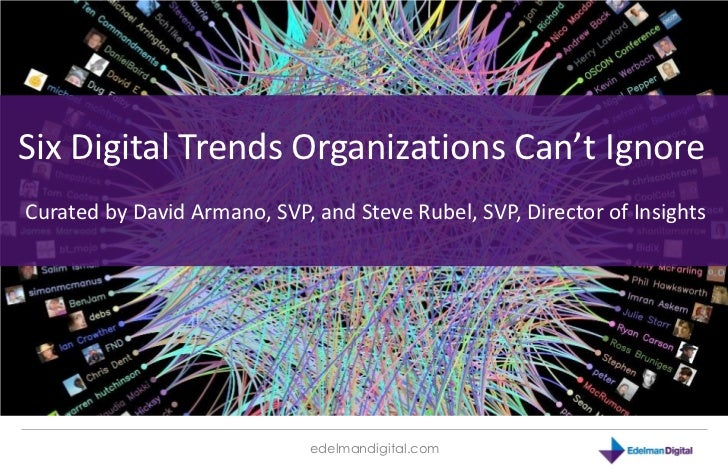 Six Digital Trends Organizations Can't Ignore Curated by David Armano, SVP, and Steve Rubel, SVP, Director of Insights    ...