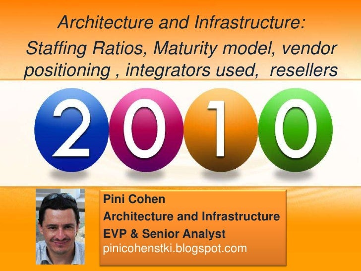 Architecture and Infrastructure: Staffing Ratios, Maturity model, vendor positioning , integrators used, resellers        ...