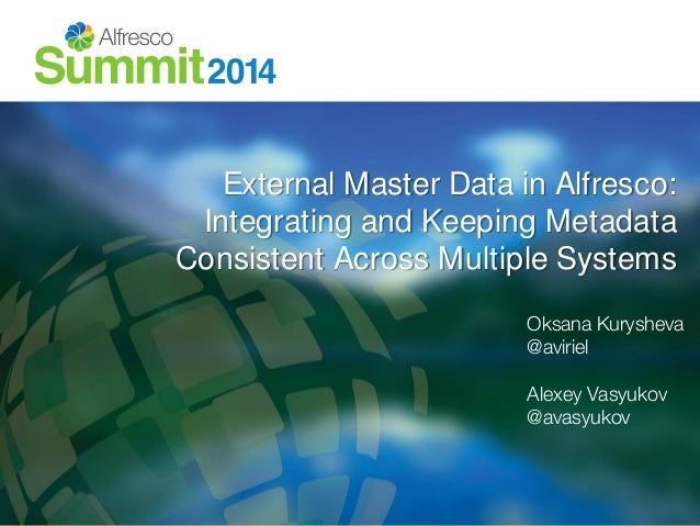 External Master Data in Alfresco:  Integrating and Keeping Metadata  Consistent Across Multiple Systems  Oksana Kurysheva ...