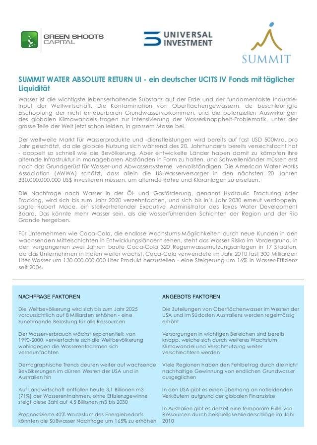 SUMMIT WATER ABSOLUTE RETURN UI - ein deutscher UCITS IV Fonds mit täglicherLiquiditätWasser ist die wichtigste lebenserha...