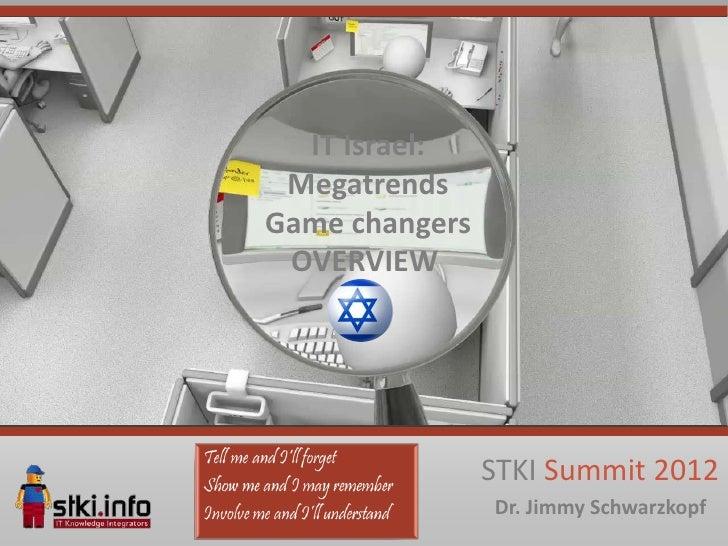 IT Israel: MegatrendsGame changers OVERVIEW                STKI Summit 2012                Dr. Jimmy Schwarzkopf