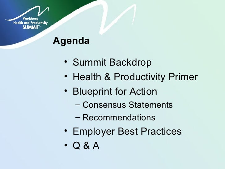 Workforce health and productivity summit a blueprint for action environmental medicine 2 malvernweather Images