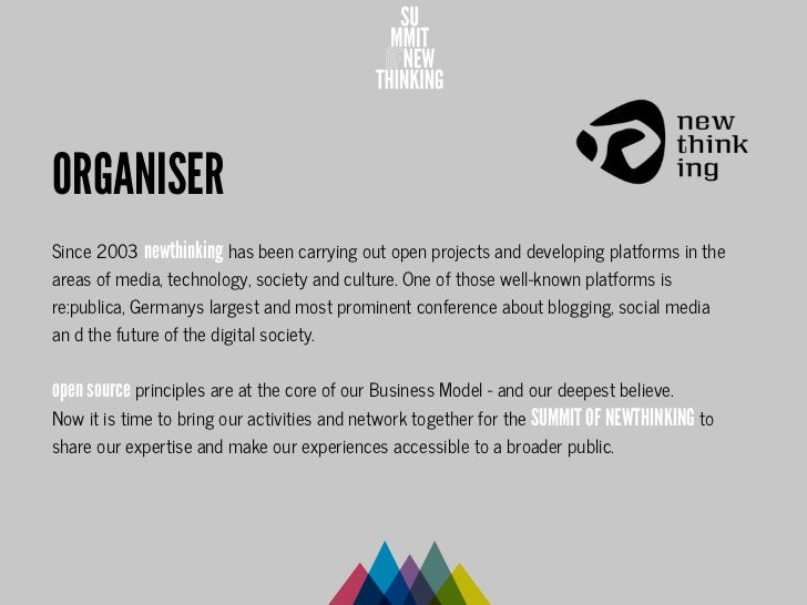 ORGANISERSince 2003 newthinking has been carrying out open projects and developing platforms in theareas of media, technol...