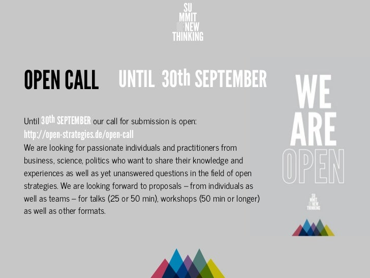OPEN CALL UNTIL 30th SEPTEMBERUntil 30th SEPTEMBER our call for submission is open:http://open-strategies.de/open-callWe a...