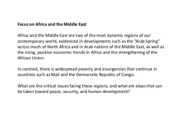 Session on Africa and the Middle East: chaired by H.E. Jean Ping, Former Chairpersonof the Commission of the African Union...