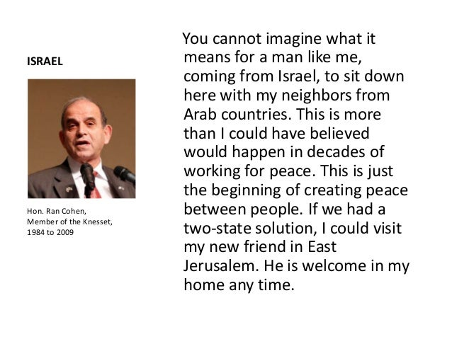 """Hon. Ran Cohen embraces Professor Abdel Rahman Abbad from East Jerusalem: """"If a two-statesolution is adopted, his home wou..."""