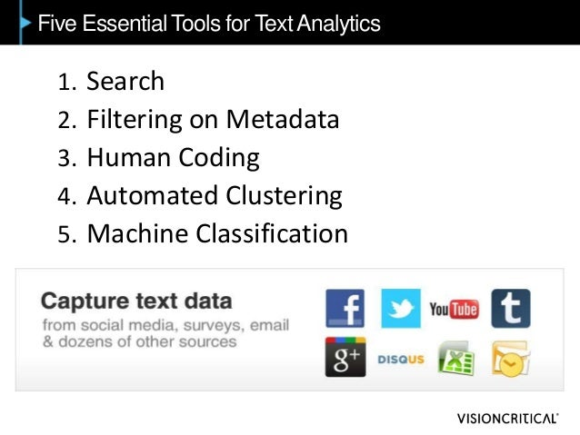 Five Essential Tools for TextAnalytics 1. Search 2. Filtering on Metadata 3. Human Coding 4. Automated Clustering 5. Machi...