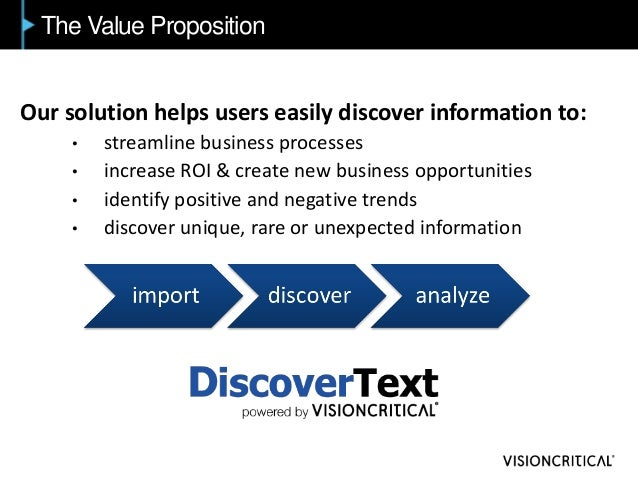 The Value Proposition Our solution helps users easily discover information to: • streamline business processes • increase ...