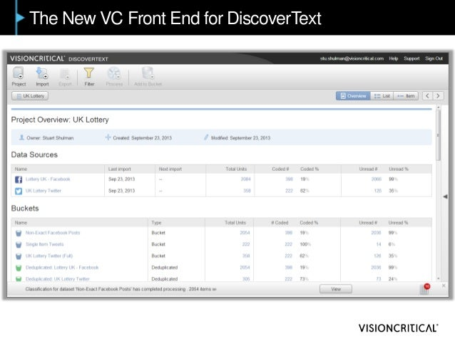 The New VC Front End for DiscoverText