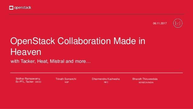 OpenStack Collaboration Made in Heaven 06.11.2017 Trinath Somanchi Bharath ThiruveedulaSridhar Ramaswamy, Ex-PTL, Tacker C...