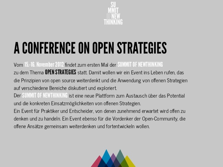 SUMMIT OF NEWTHINKING - a conference on OPEN STRATEGIES Slide 2