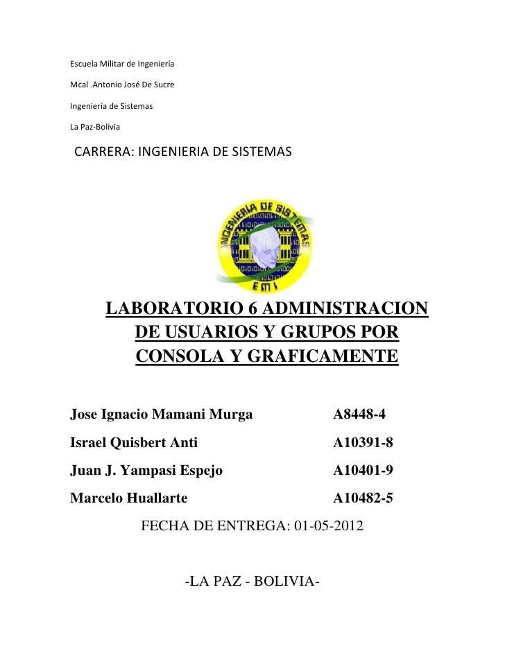 Escuela Militar de IngenieríaMcal .Antonio José De SucreIngeniería de SistemasLa Paz-Bolivia CARRERA: INGENIERIA DE SISTEM...