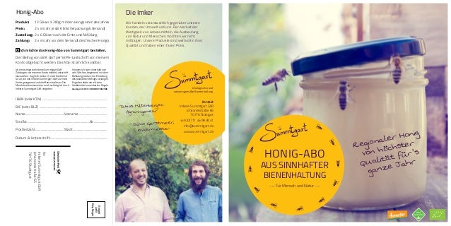 HONIG-ABO AUS SINNHAFTER BIENENHALTUNG --- Für Mensch und Natur --- Regionaler Honig von höchster Qualität für's ganze Jah...