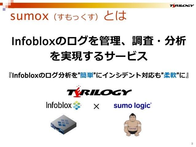 """sumox(すもっくす)とは 3 Infobloxのログを管理、調査・分析 を実現するサービス 『Infobloxのログ分析を""""簡単""""にインシデント対応も""""柔軟""""に』 ×"""