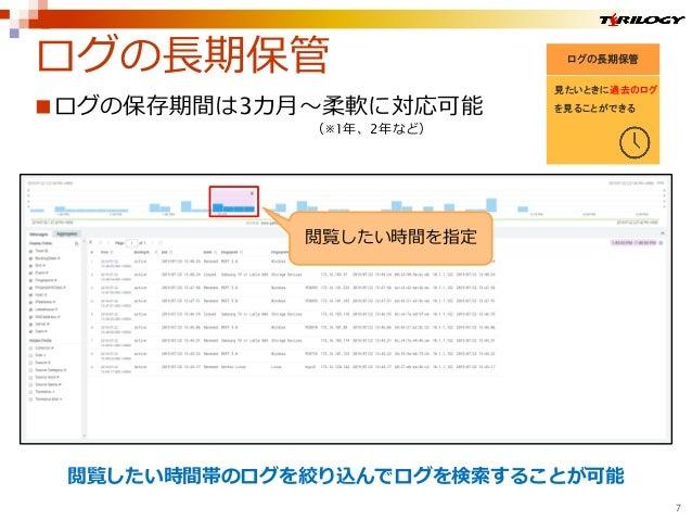 ログの保存期間は3カ月~柔軟に対応可能 (※1年、2年など) 閲覧したい時間帯のログを絞り込んでログを検索することが可能 ログの長期保管 見たいときに過去のログ を見ることができる ログの長期保管 7 閲覧したい時間を指定