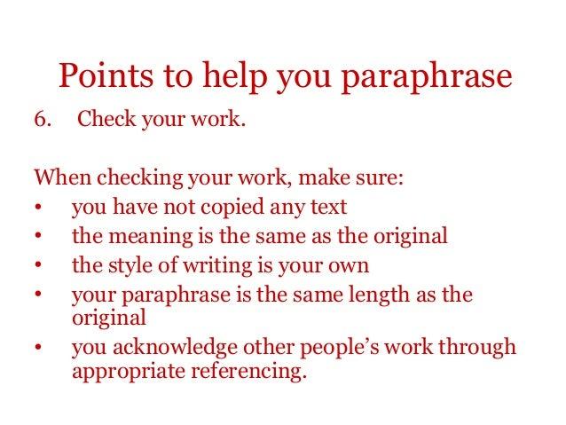 Summary paraphrasing exercises