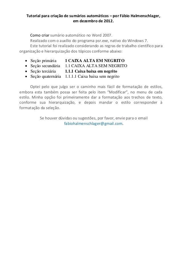 Tutorial para criação de sumários automáticos – por Fábio Halmenschlager,                               em dezembro de 201...
